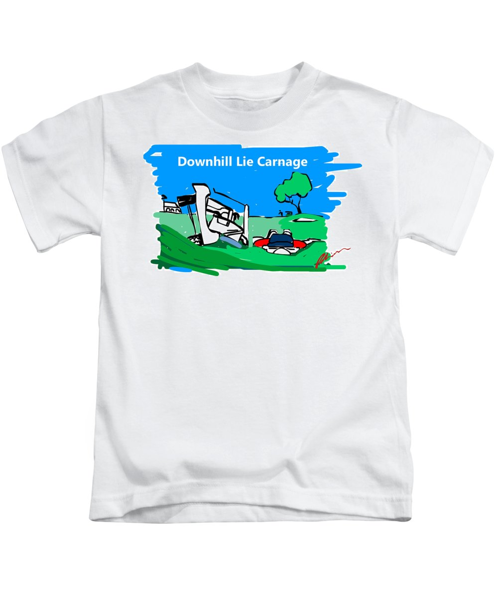 Golf Greeting Cards Kids T-Shirt featuring the drawing Carnage by Mark Robinson
