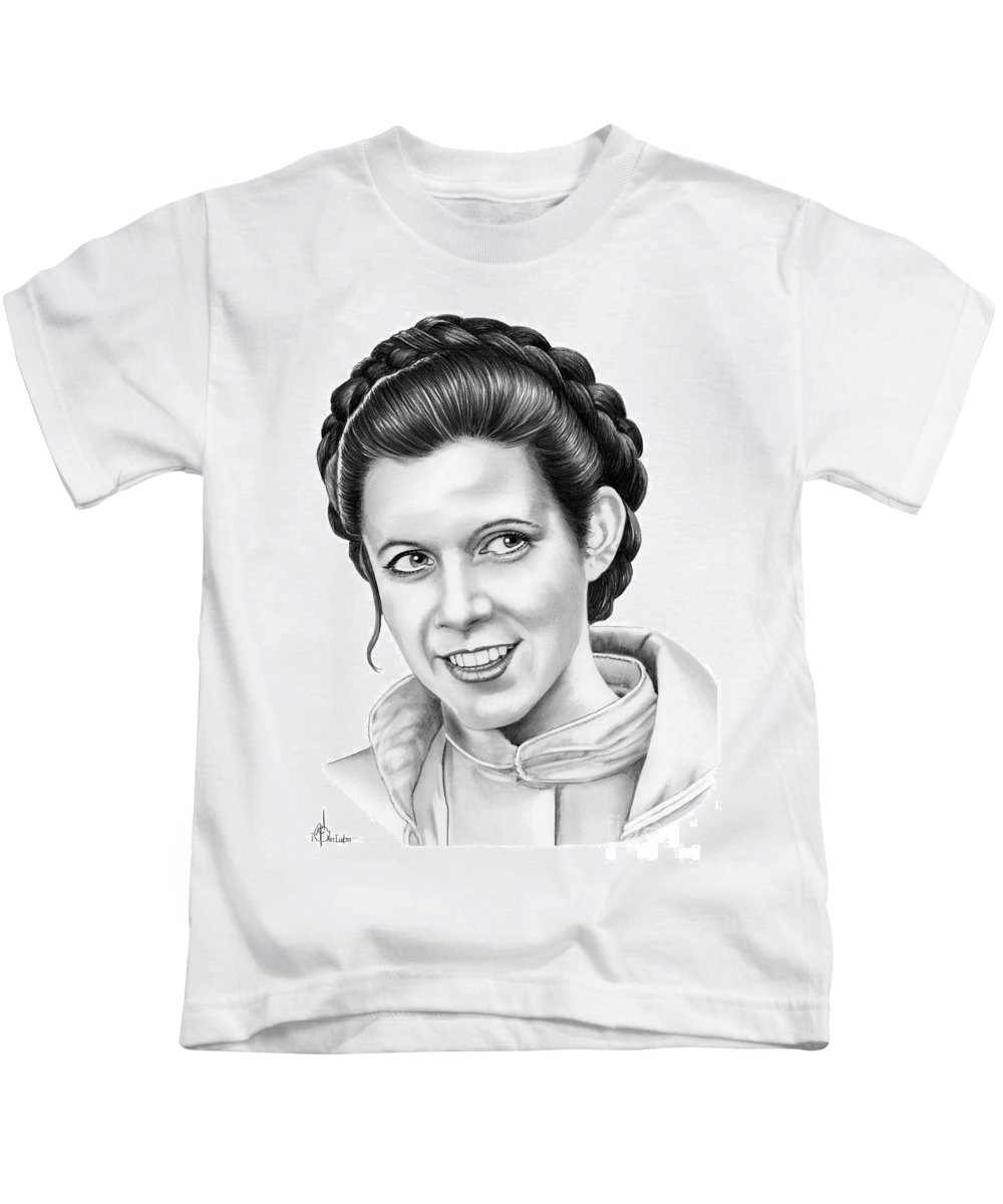 Pencil Kids T-Shirt featuring the drawing Carrie Fisher by Murphy Elliott