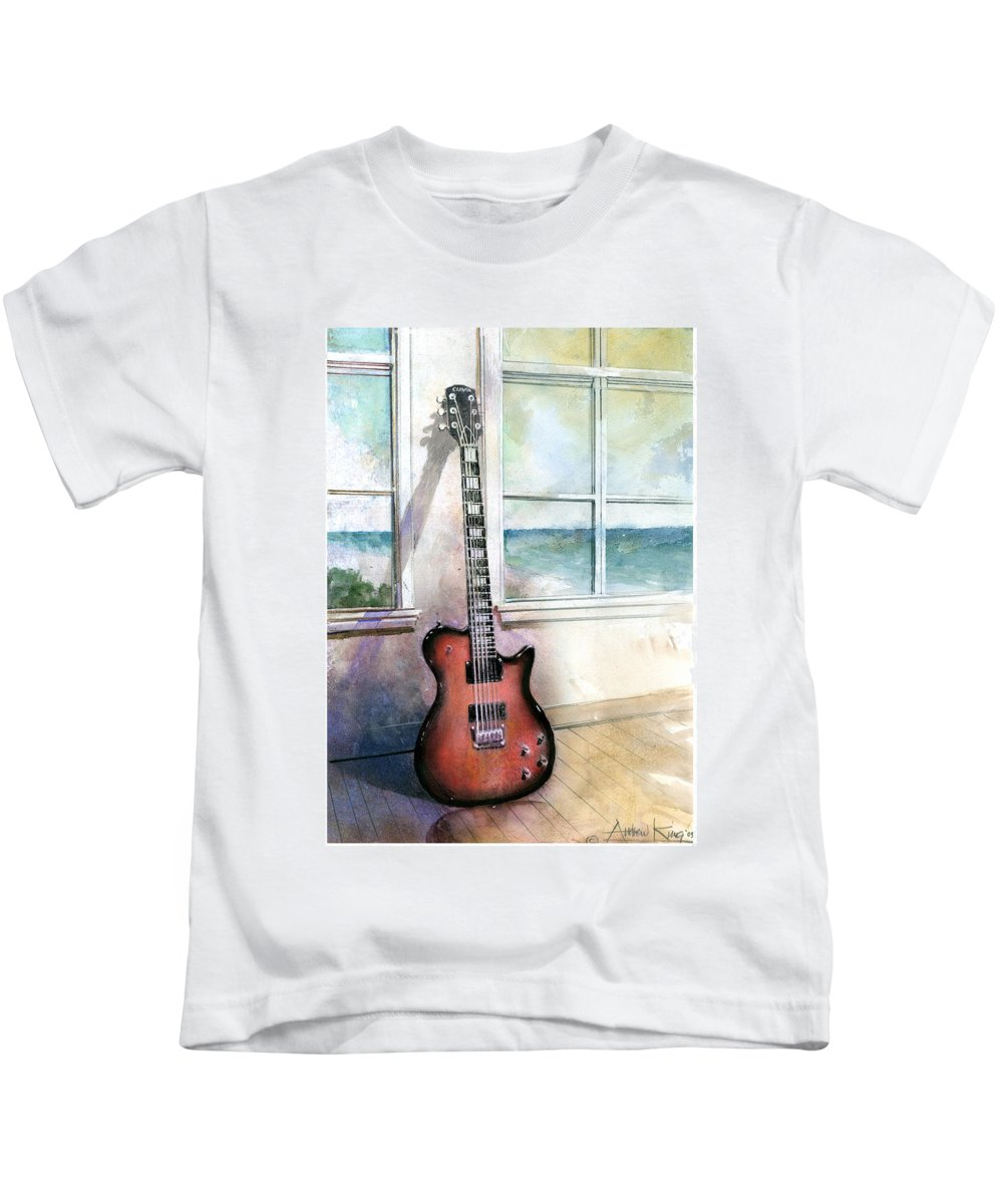 Guitar Kids T-Shirt featuring the painting Carvin Electric Guitar by Andrew King