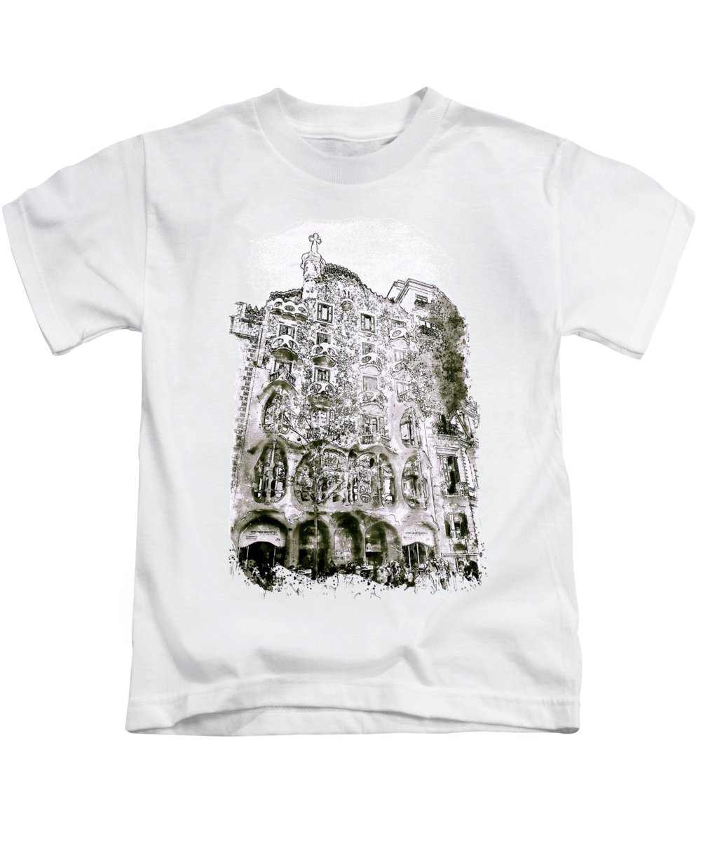 Casa Batllo Kids T-Shirt featuring the mixed media Casa Batllo Barcelona Black And White by Marian Voicu
