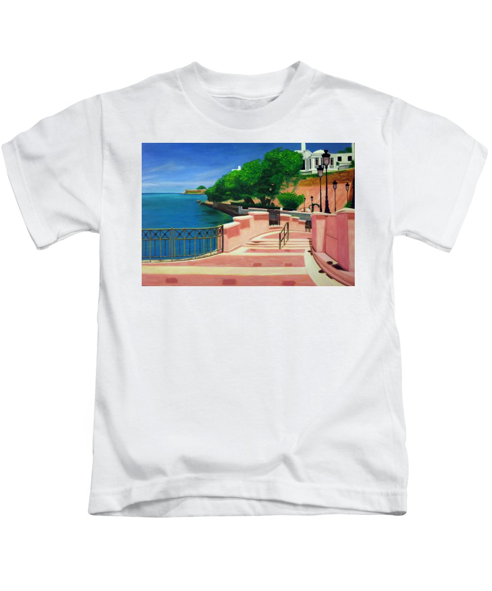 Landscape Kids T-Shirt featuring the painting Casa Blanca - Puerto Rico by Tito Santiago