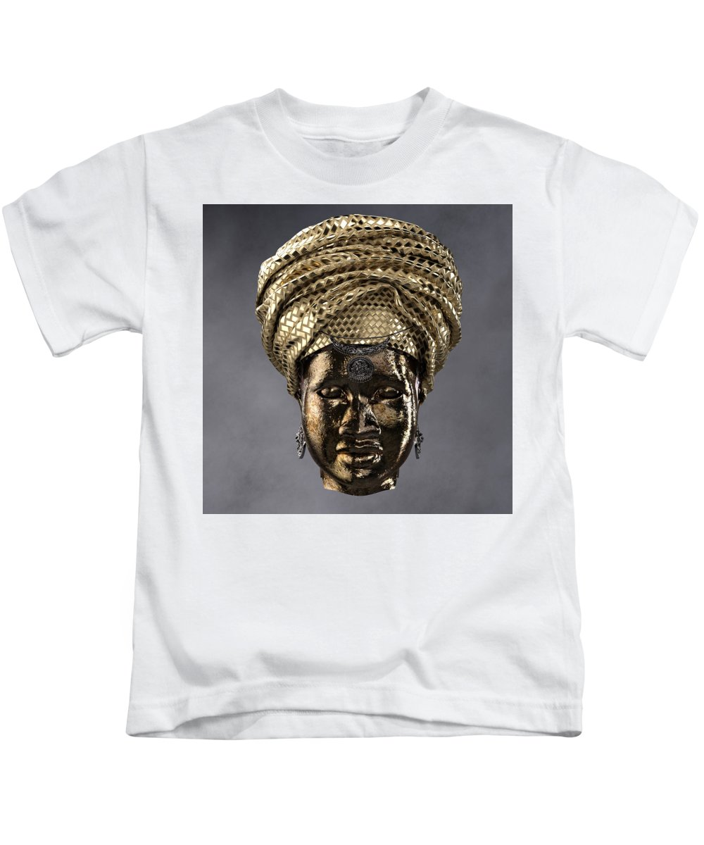 Africa Kids T-Shirt featuring the sculpture Cast In Character 2013 - Front by Omolara