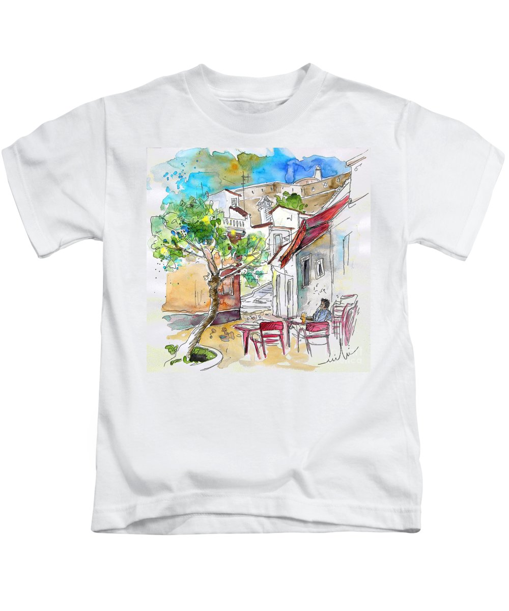 Water Colour Travel Sketch Castro Marim Portugal Algarve Miki Kids T-Shirt featuring the painting Castro Marim Portugal 01 by Miki De Goodaboom