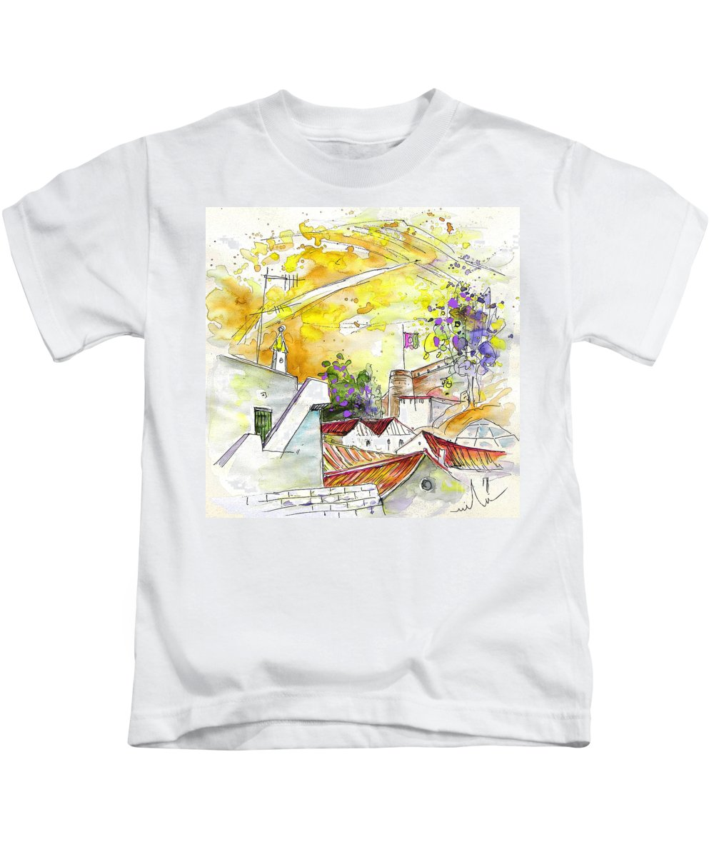 Water Colour Travel Sketch Castro Marim Portugal Algarve Miki Kids T-Shirt featuring the painting Castro Marim Portugal 03 by Miki De Goodaboom