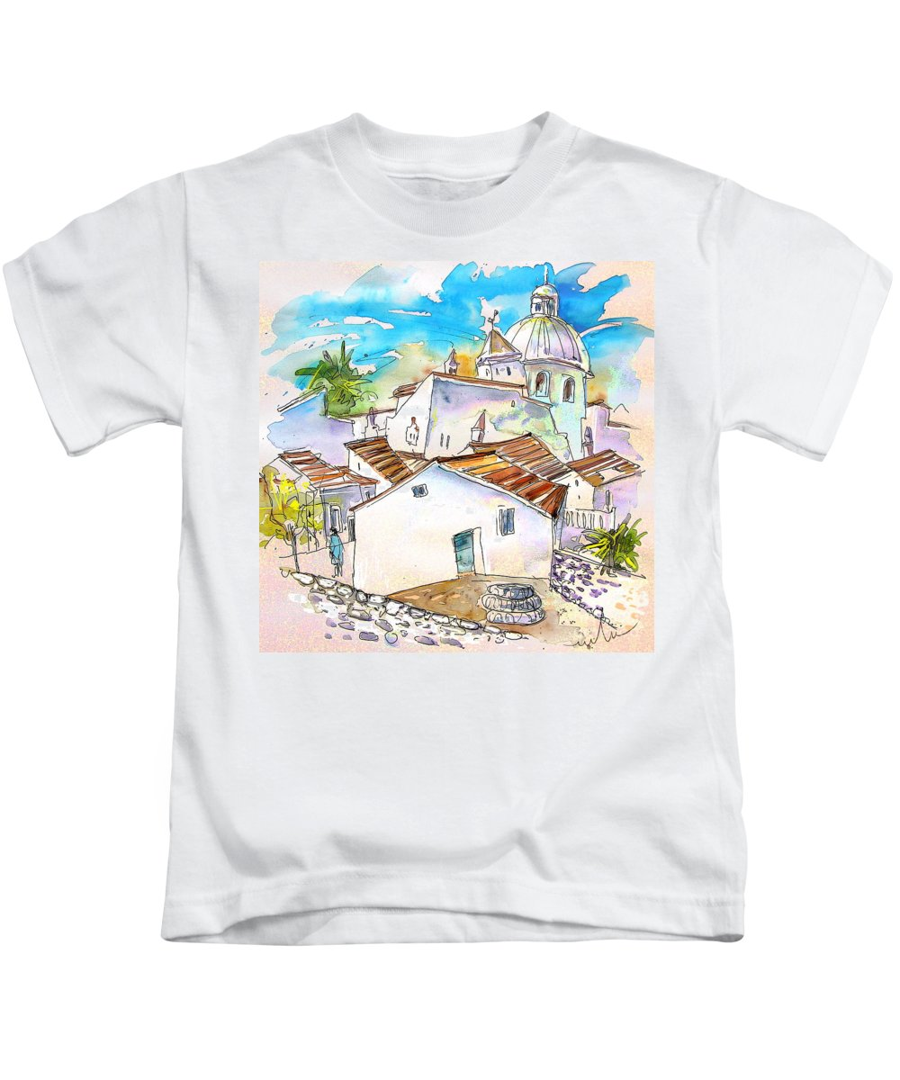 Water Colour Travel Sketch Castro Marim Portugal Algarve Miki Kids T-Shirt featuring the painting Castro Marim Portugal 05 by Miki De Goodaboom