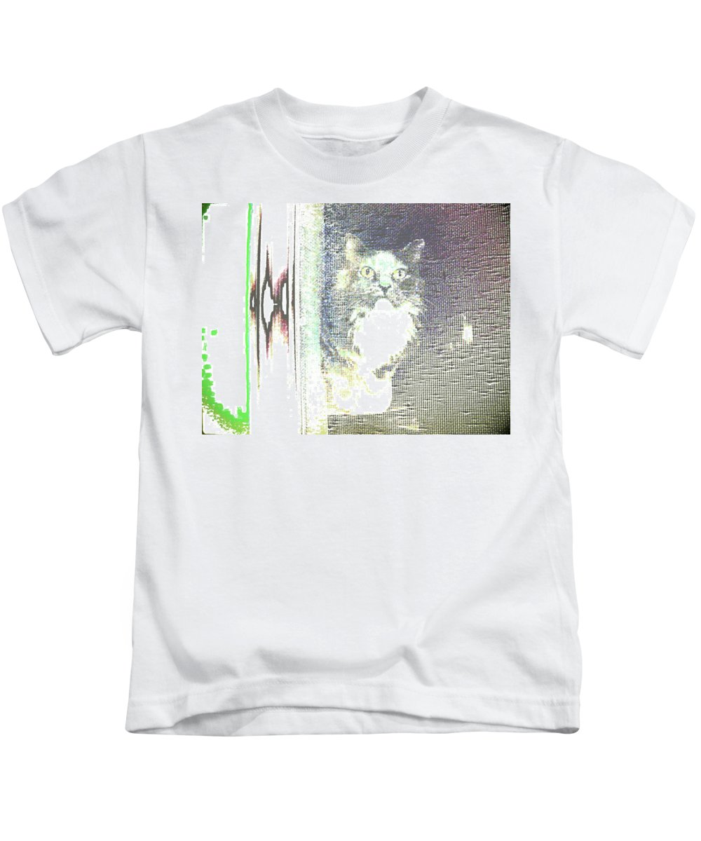 Abstract Kids T-Shirt featuring the photograph Cat by Lenore Senior