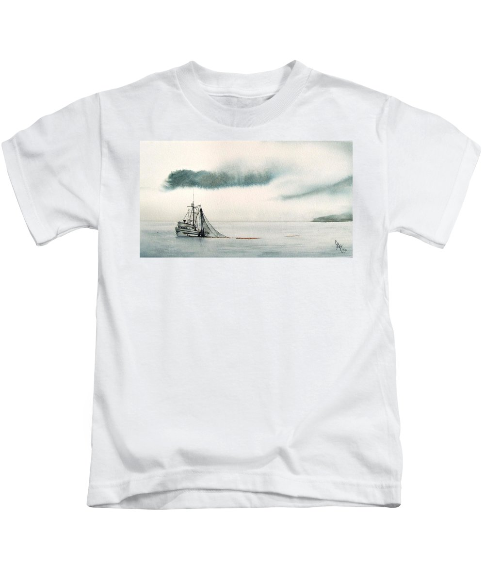 Fishing Boat Kids T-Shirt featuring the painting Catch Of The Day by Gale Cochran-Smith