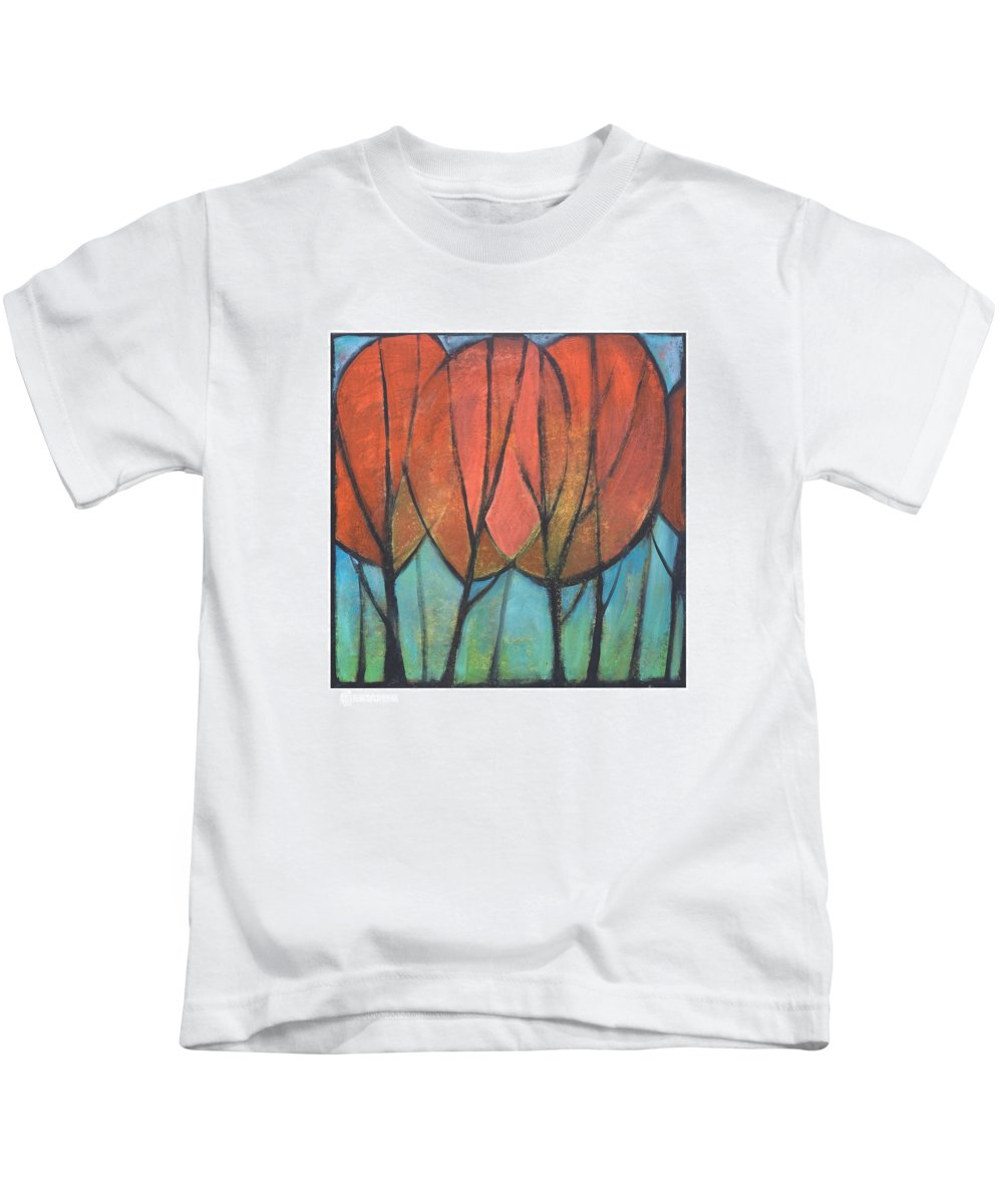 Trees Kids T-Shirt featuring the painting Cathedral by Tim Nyberg