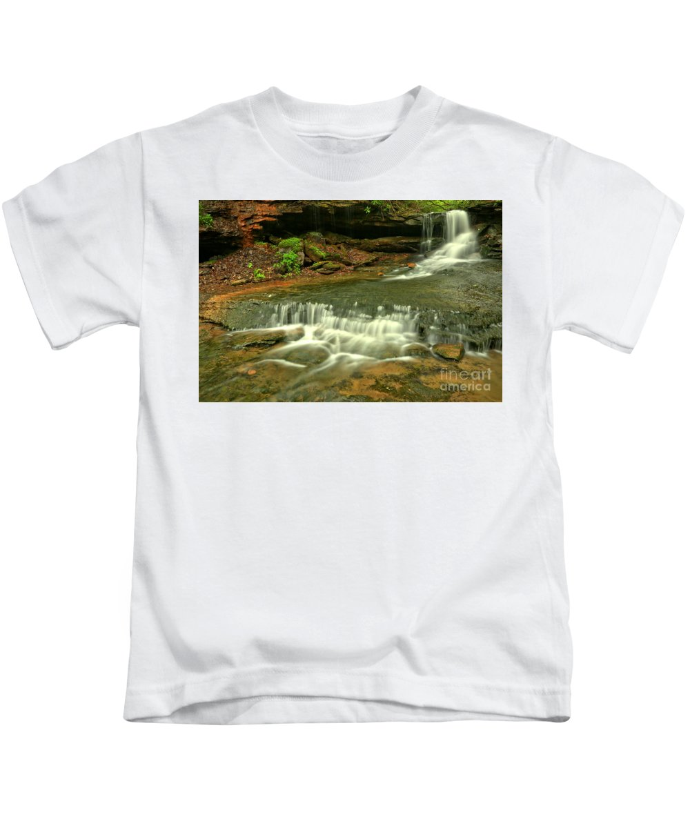 Cave Falls Kids T-Shirt featuring the photograph Cave Falls Landscape by Adam Jewell