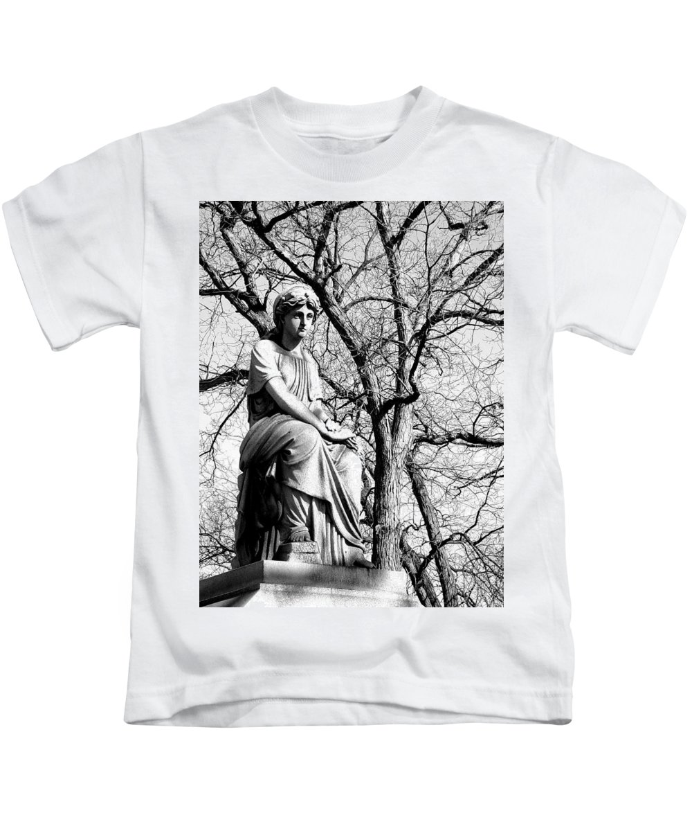 Cemetary Kids T-Shirt featuring the photograph Cemetary Statue B-w by Anita Burgermeister