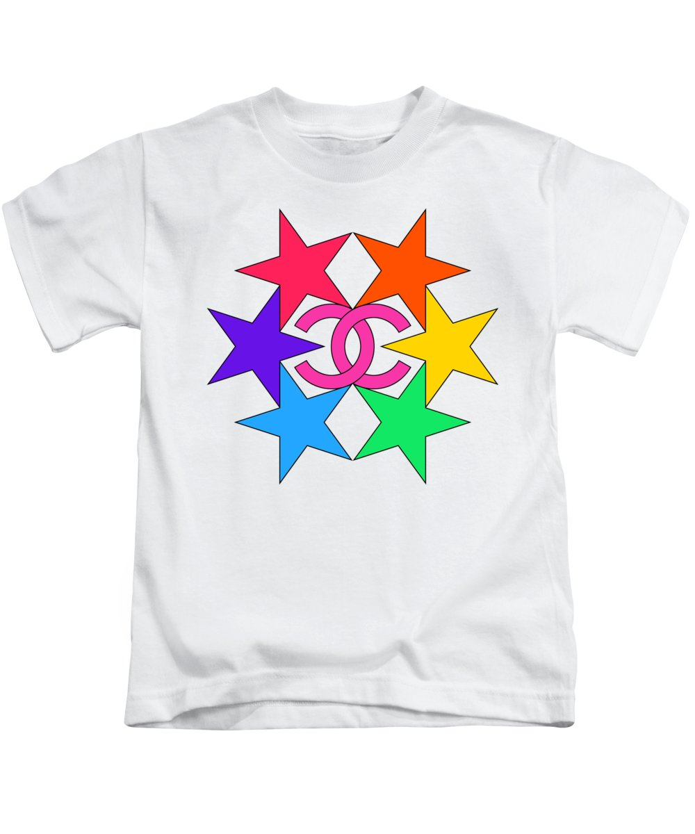 Chanel Kids T-Shirt featuring the painting Chanel Stars-15 by Nikita