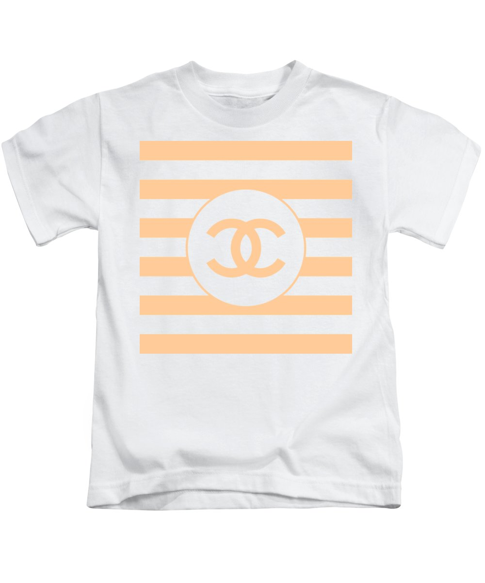 Chanel Kids T-Shirt featuring the digital art Chanel - Stripe Pattern - Beige - Fashion And Lifestyle by TUSCAN Afternoon