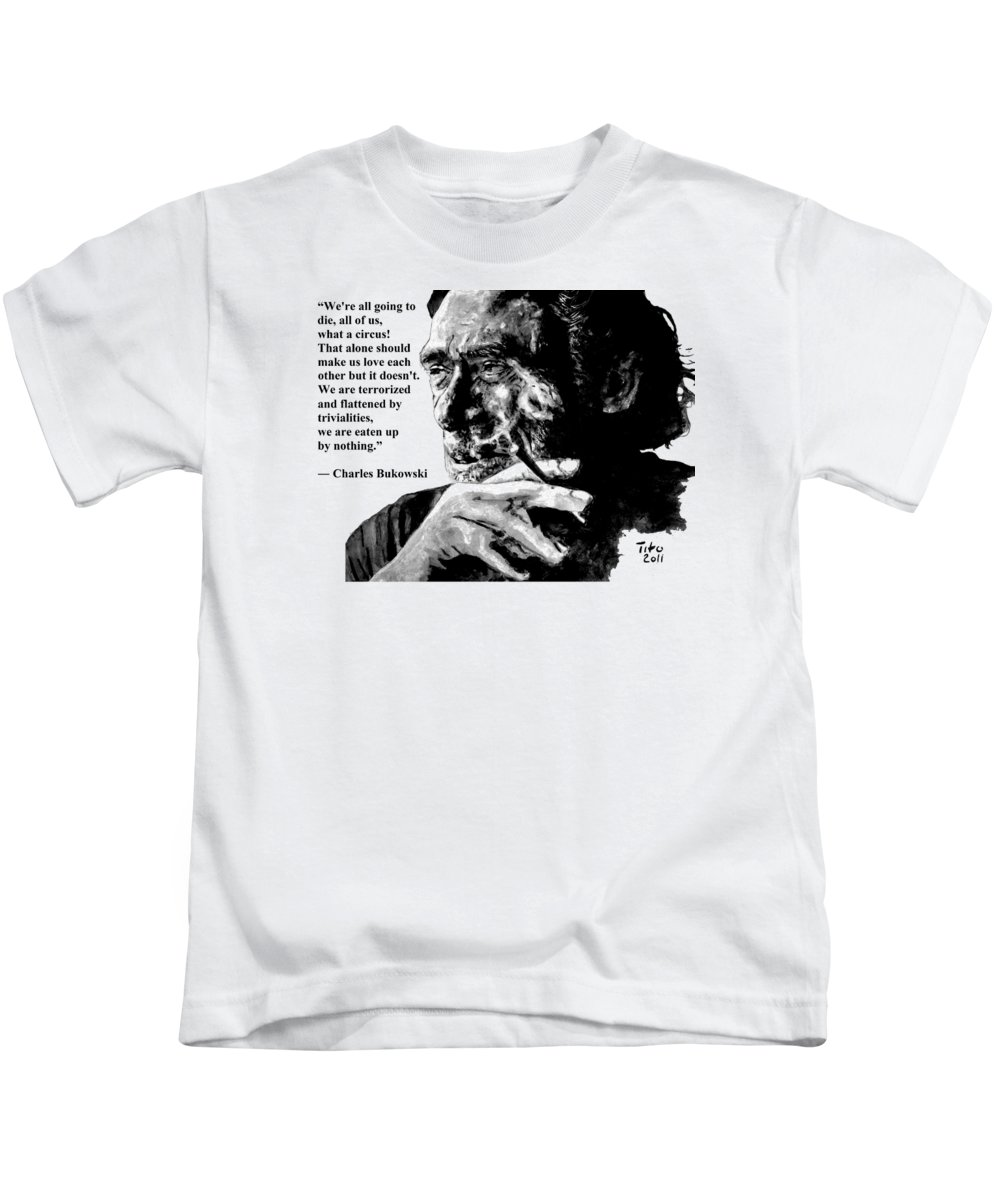Charles Kids T-Shirt featuring the painting Charles Bukowski by Richard Tito