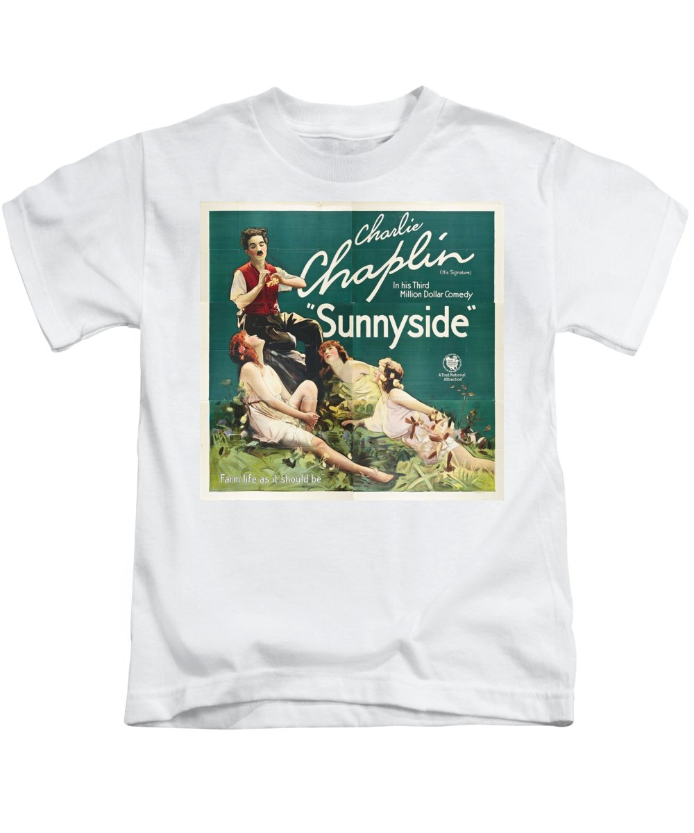 Movie Kids T-Shirt featuring the drawing Charlie Chaplin In Sunnyside 1919 by Mountain Dreams