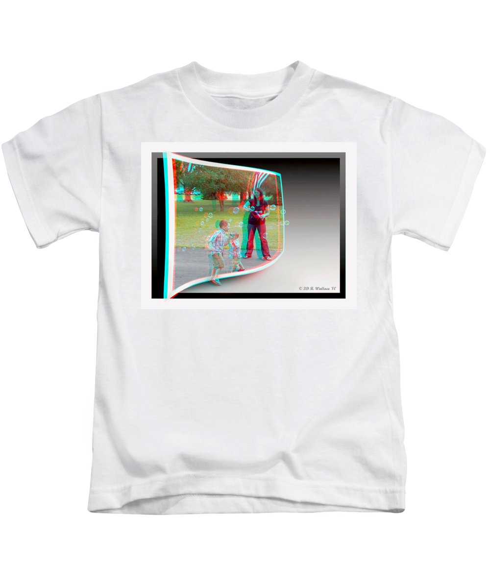 3d Kids T-Shirt featuring the photograph Chasing Bubbles - Use Red-cyan 3d Glasses by Brian Wallace