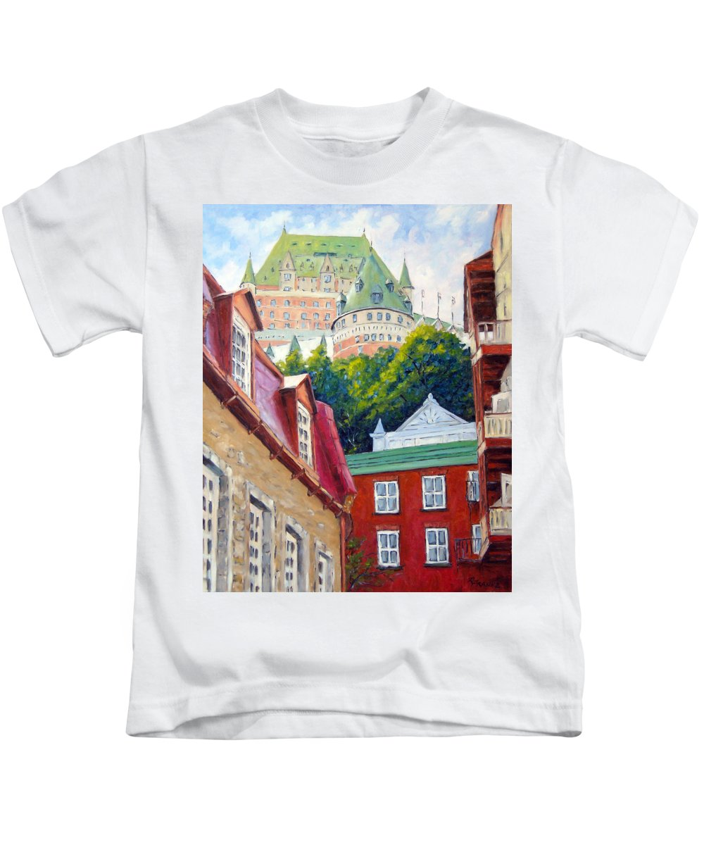 Town Kids T-Shirt featuring the painting Chateau Frontenac 02 by Richard T Pranke