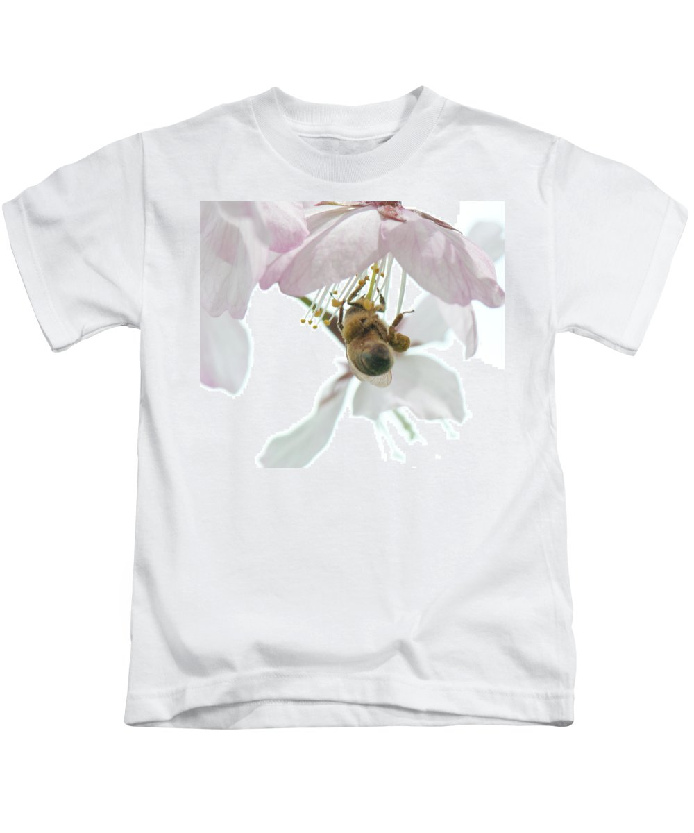 Photography Kids T-Shirt featuring the photograph Cherry Blossom With Bee by Steven Natanson