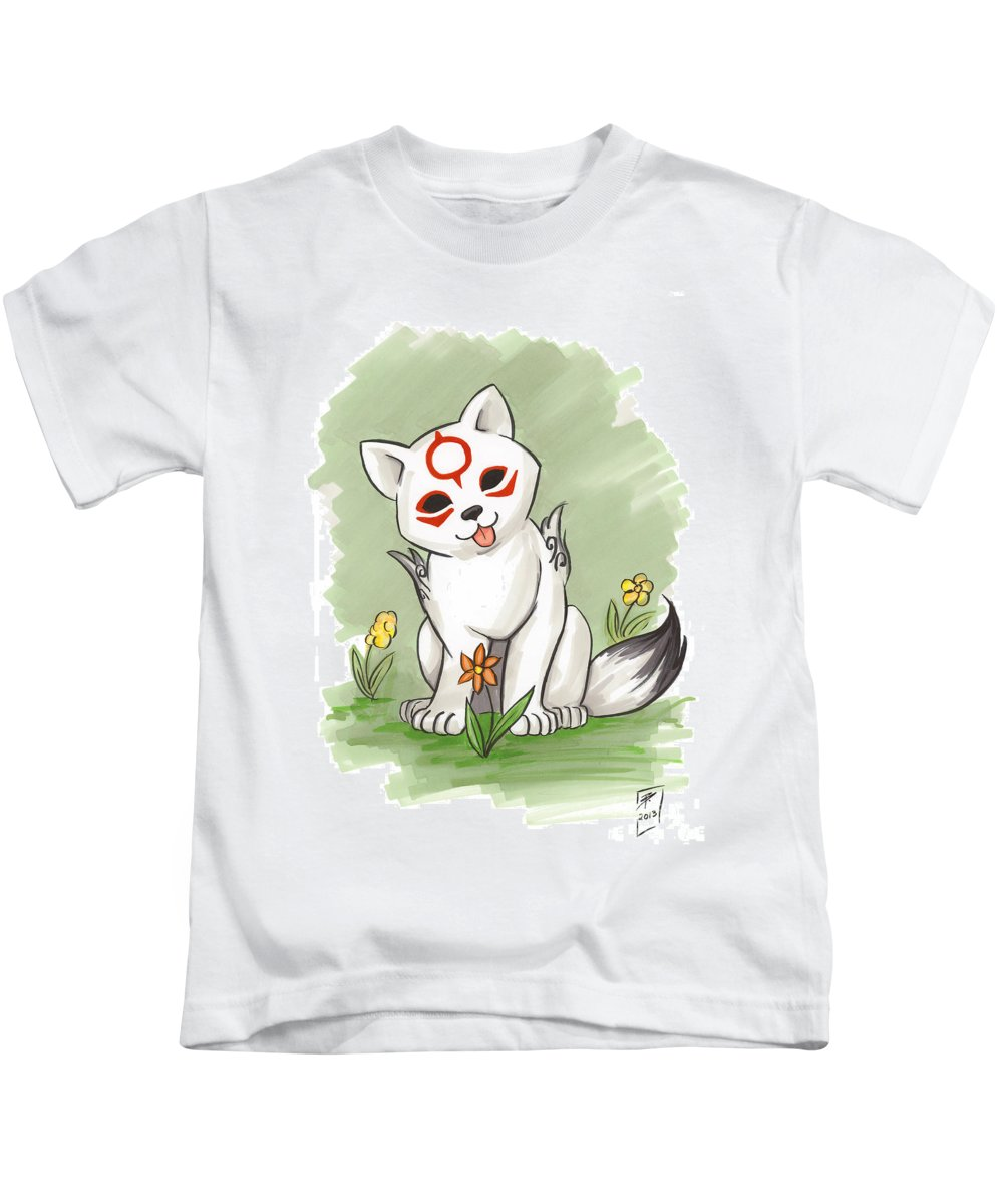 Wolf Kids T-Shirt featuring the drawing Chibiterasu Okami by Brandy Woods