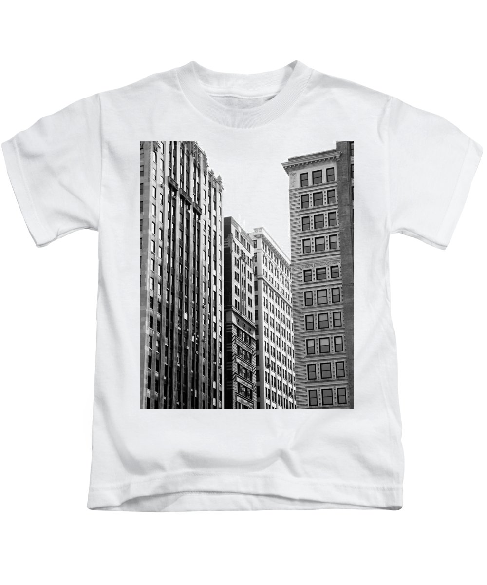 Chicago Architecture Historic Building Gray Window Skyscraper Kids T-Shirt featuring the photograph Chicago Faces by Pete Mikelson