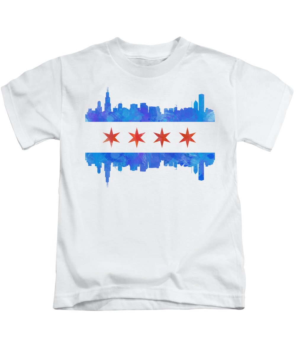 Chicago Kids T-Shirt featuring the painting Chicago Flag Watercolor by Mike Maher