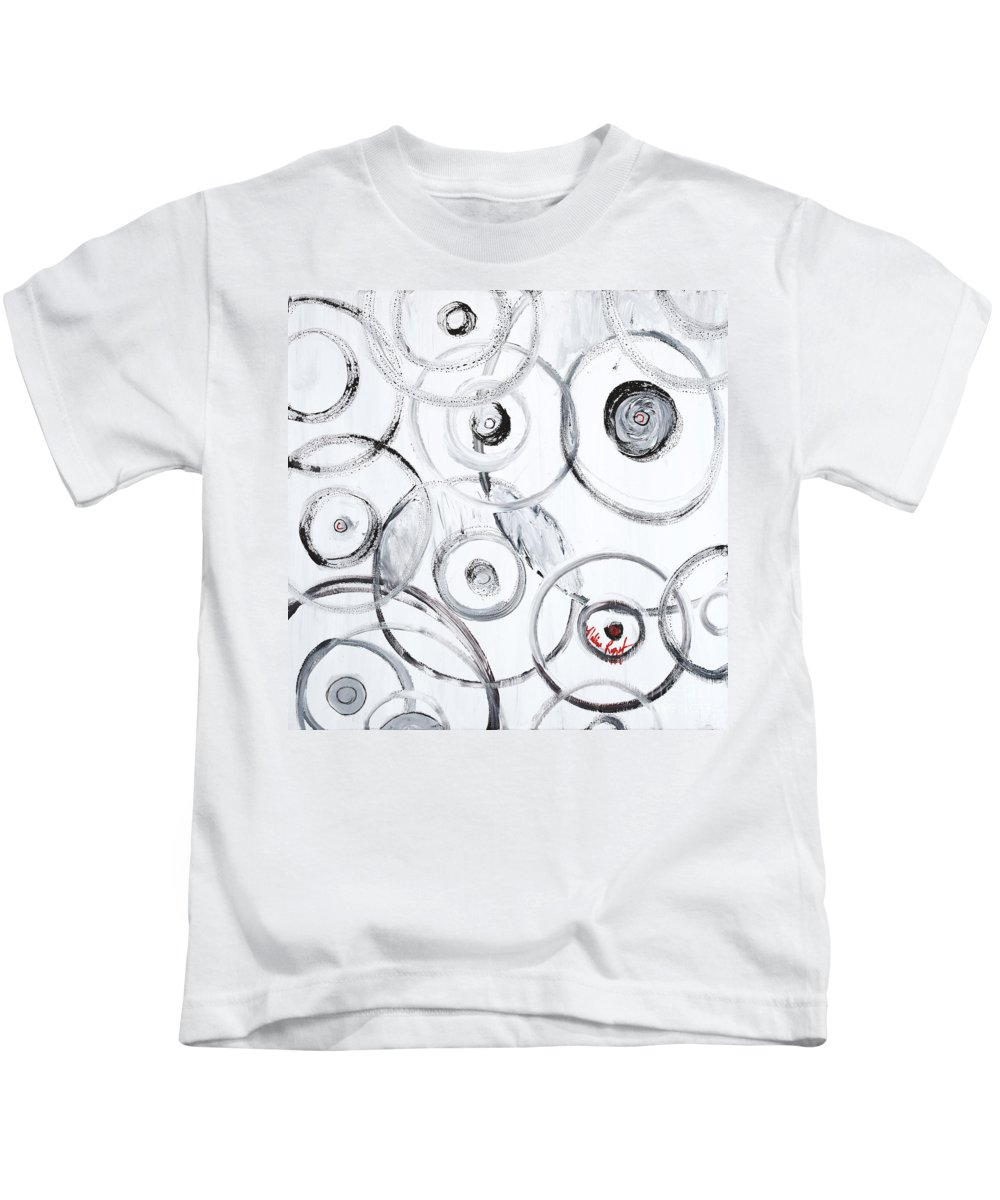 Circles Kids T-Shirt featuring the painting Choices In White by Nadine Rippelmeyer