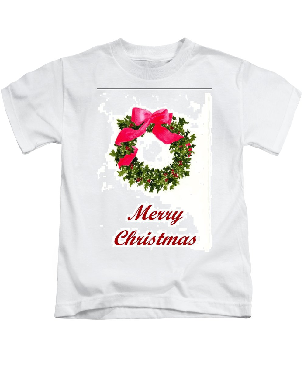 Christmas Kids T-Shirt featuring the painting Christmas Wreath by Michael Vigliotti