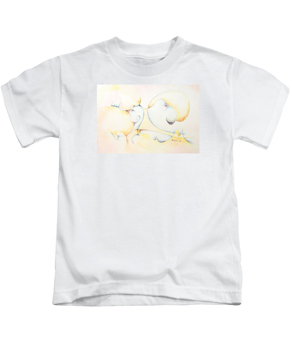 Kids T-Shirt featuring the painting Circular Thoughts by Dave Martsolf