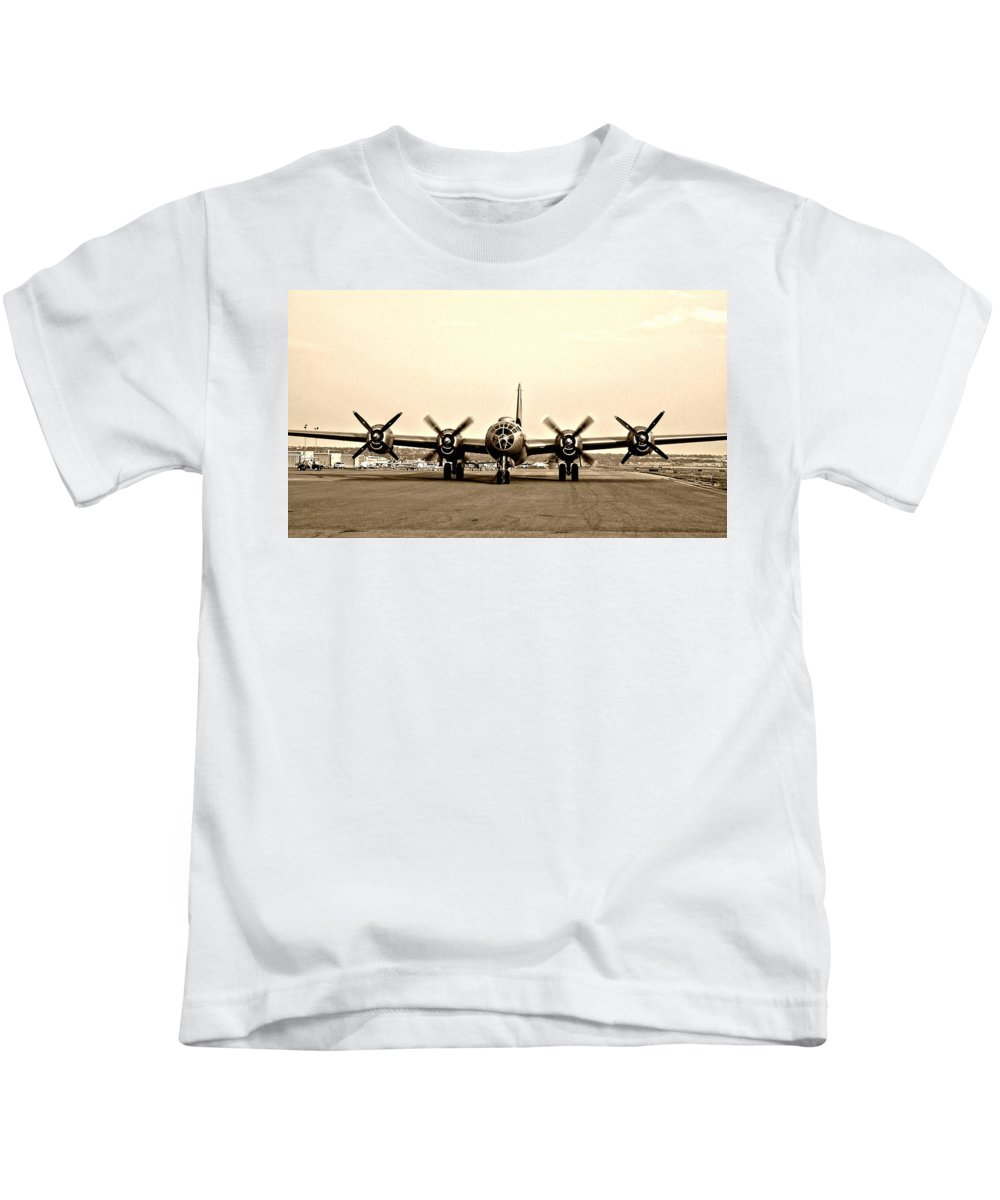 Aircraft Kids T-Shirt featuring the photograph Classic B-29 Bomber Aircraft by Amy McDaniel