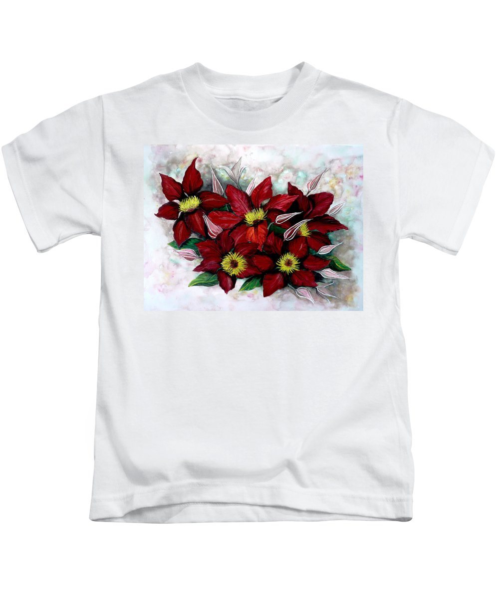 Flower Painting Floral Painting Red Painting Botanical Painting Clematis Painting Greeting Card Painting Flower Vine Painting Kids T-Shirt featuring the painting Clematis Niobe by Karin Dawn Kelshall- Best