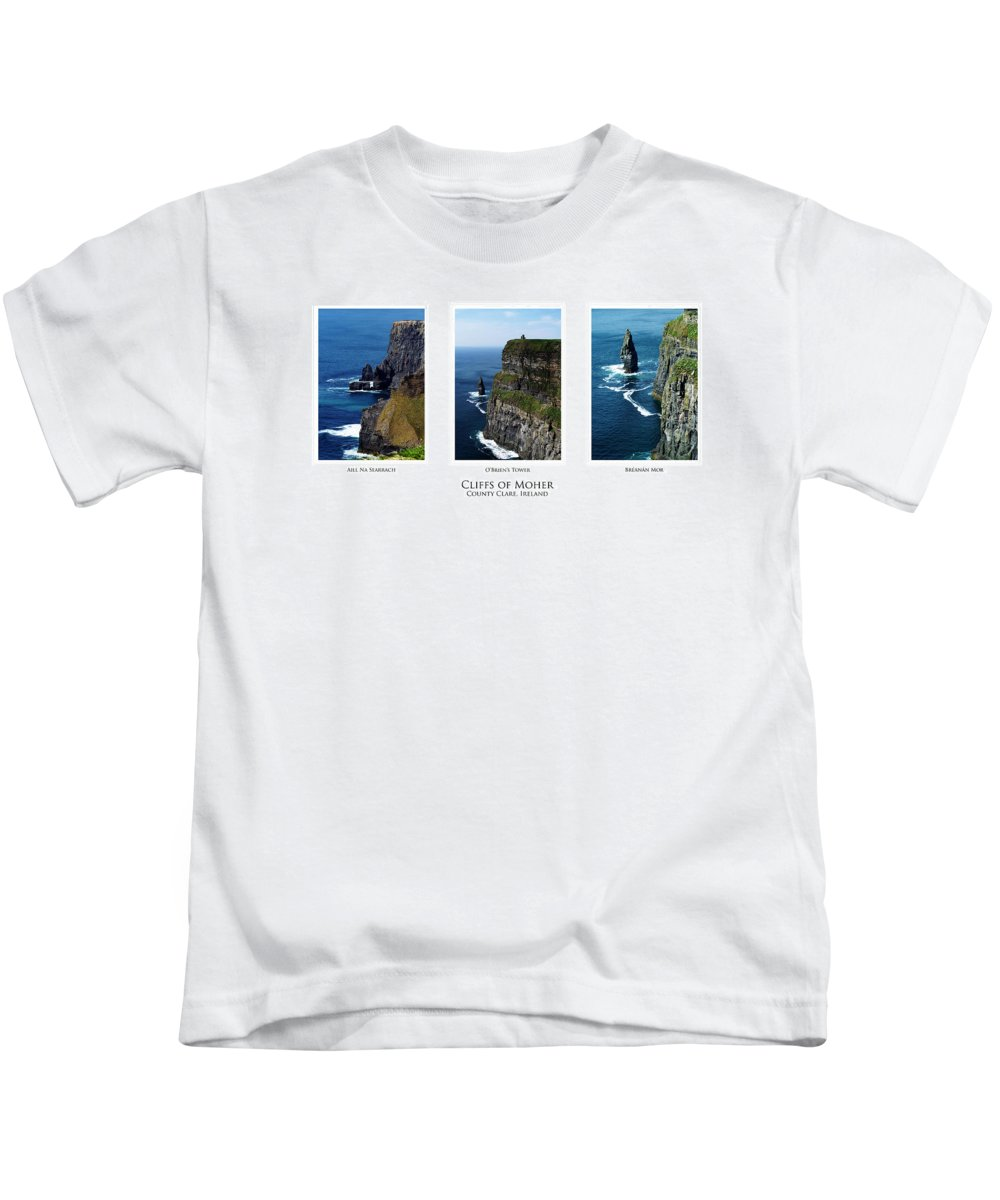 Irish Kids T-Shirt featuring the photograph Cliffs Of Moher Ireland Triptych by Teresa Mucha