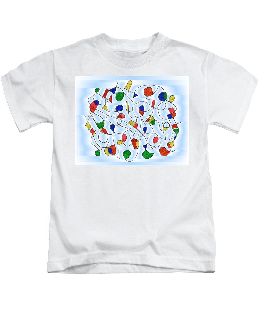 Abstract Kids T-Shirt featuring the digital art Clown Memory Cells Blue by Mark Sellers