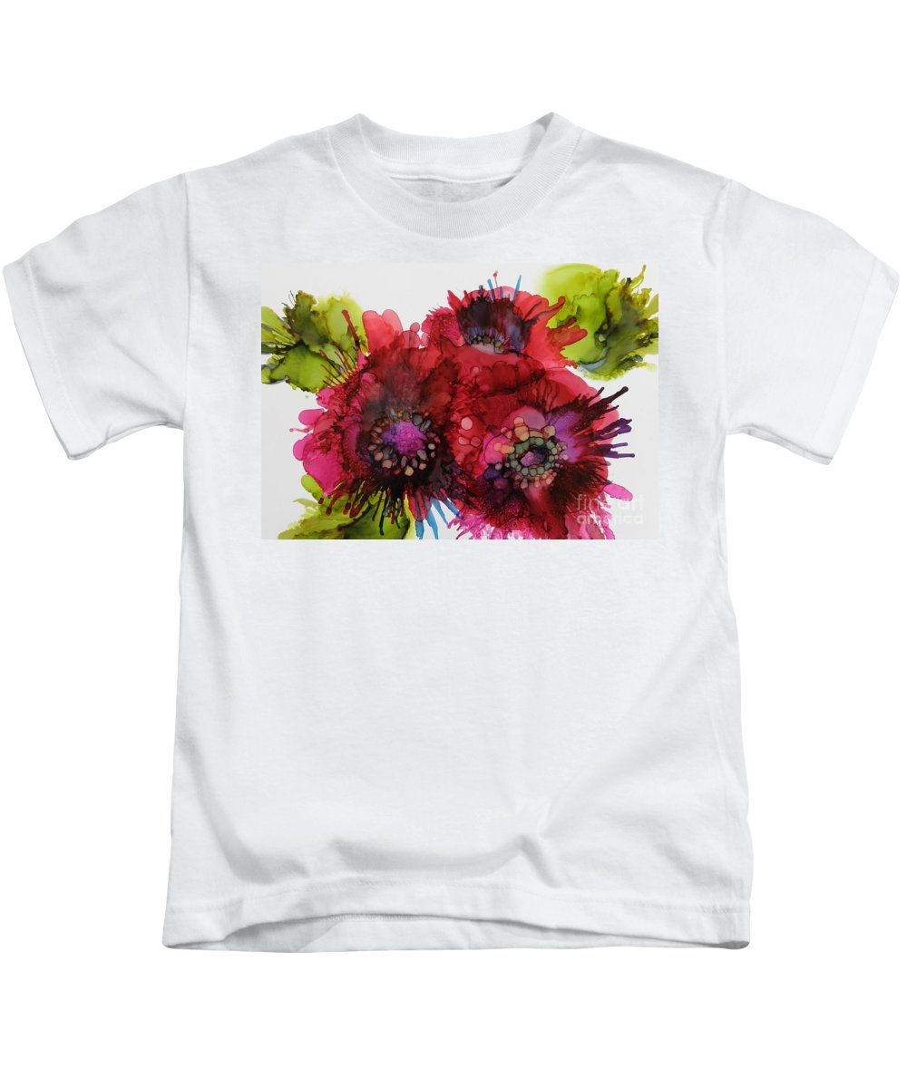 Alcohol Ink Kids T-Shirt featuring the painting Cluster by Beth Kluth