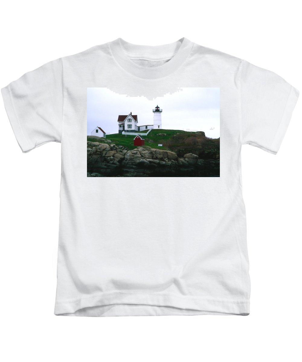 Landscape Lighthouse Nautical New England Nubble Light Cape Neddick Kids T-Shirt featuring the photograph Cnrf0502 by Henry Butz