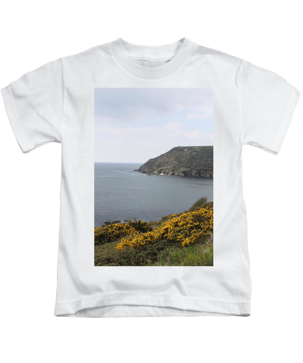 Polperro Kids T-Shirt featuring the photograph Coastal Path Cornwall by Lauri Novak