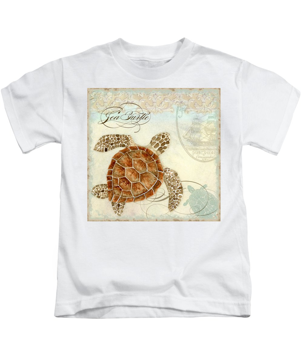 Watercolor Kids T-Shirt featuring the painting Coastal Waterways - Green Sea Turtle 2 by Audrey Jeanne Roberts