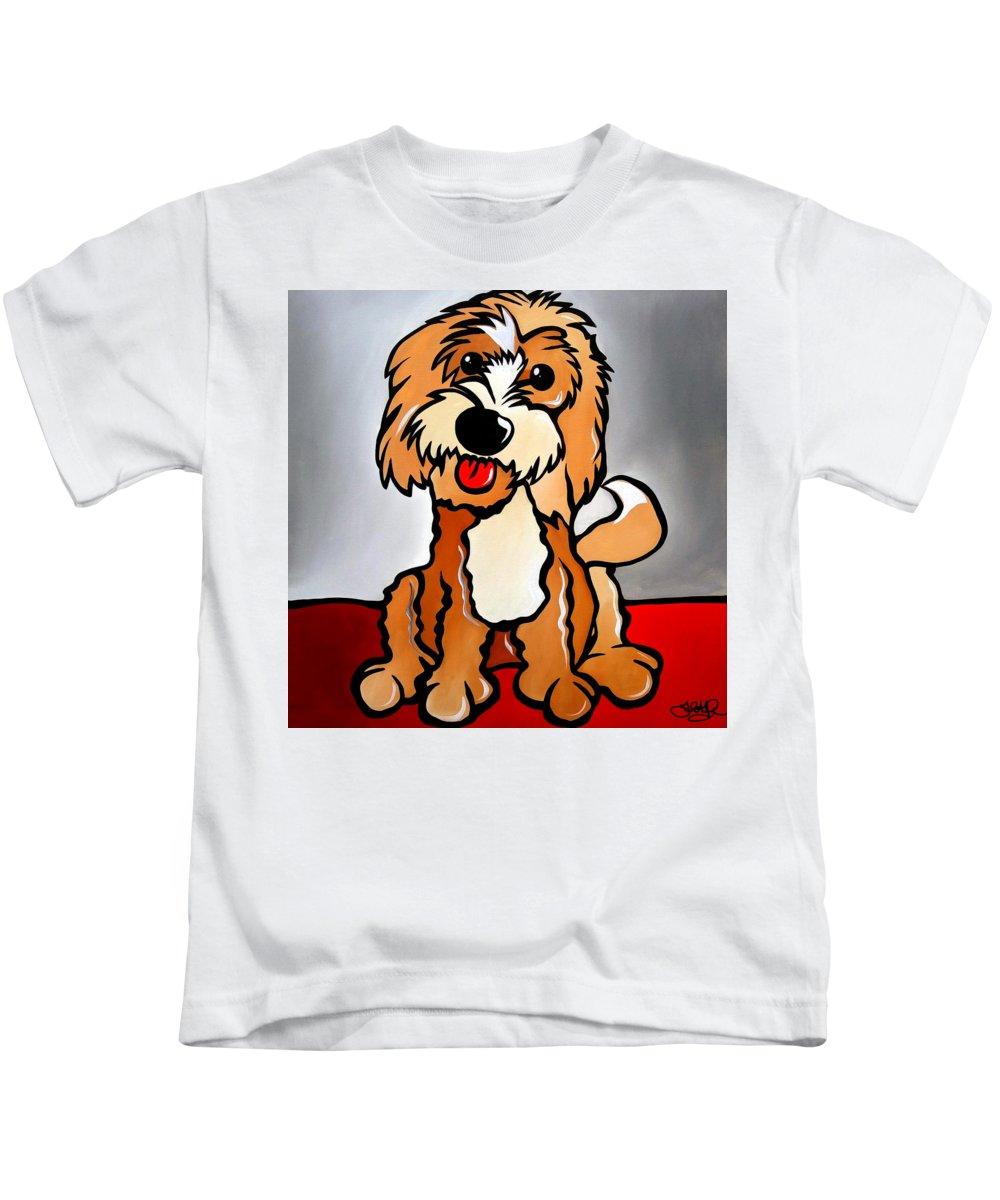 Fidostudio Kids T-Shirt featuring the painting Cockapoo by Tom Fedro - Fidostudio