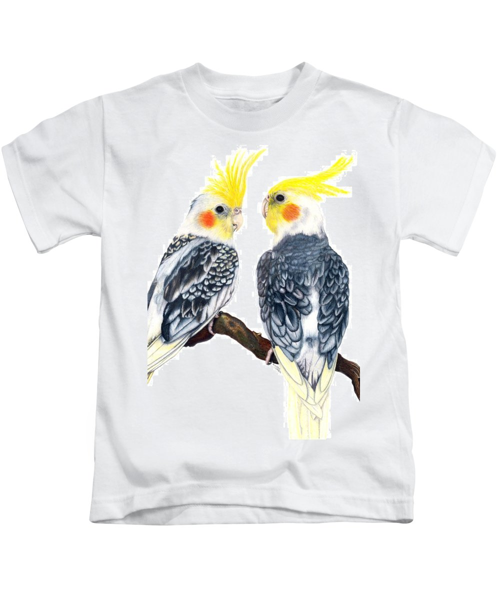 Cockatiel Kids T-Shirt featuring the drawing Cockatiels by Kristen Wesch