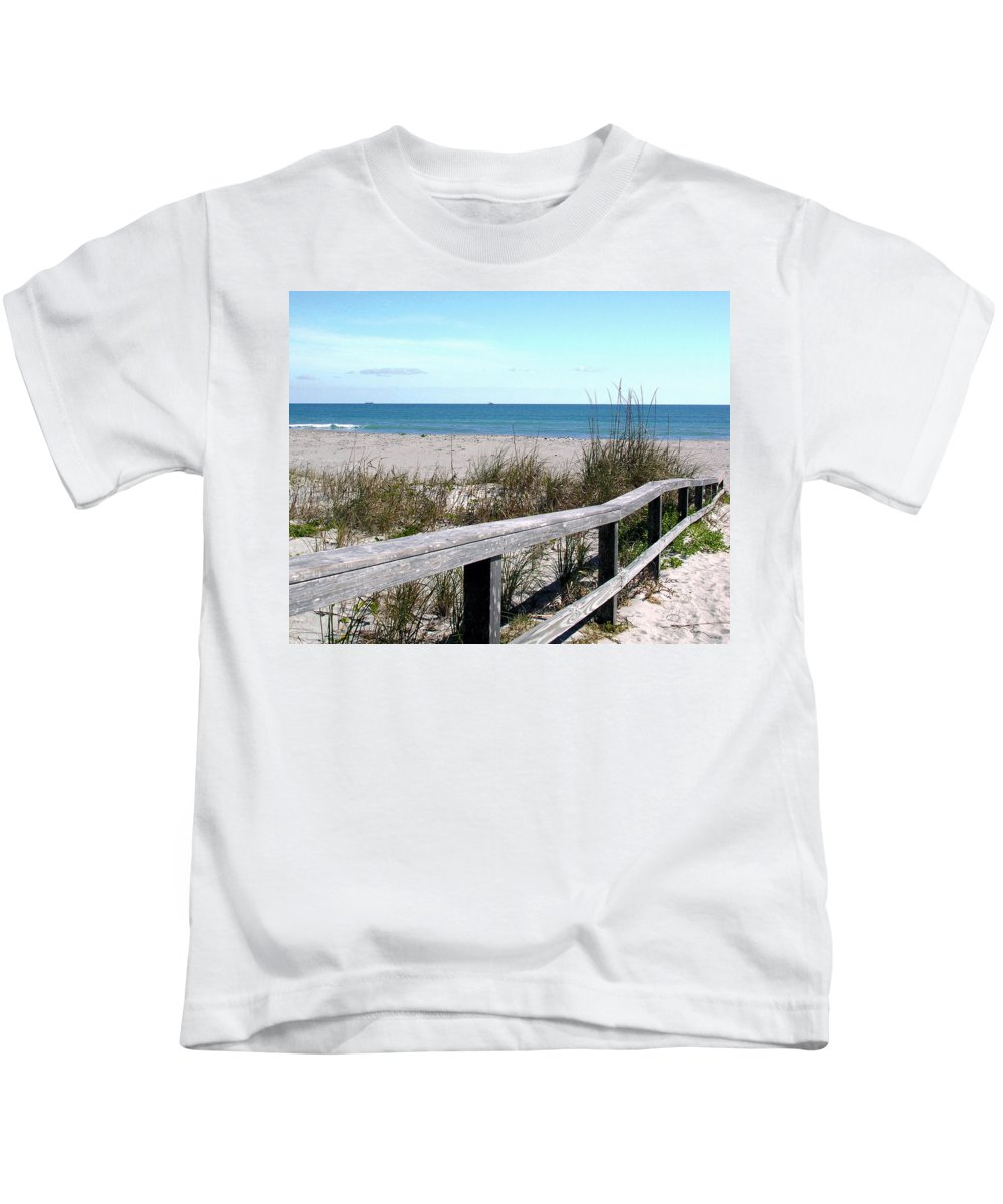 Beach; Florida; Cocoa; Railing; Ocean; Atlantic; Sea; Cocoa Beach; Brevard; Sand; Wood; Ships; Space Kids T-Shirt featuring the photograph Cocoa Beach In Florida by Allan Hughes