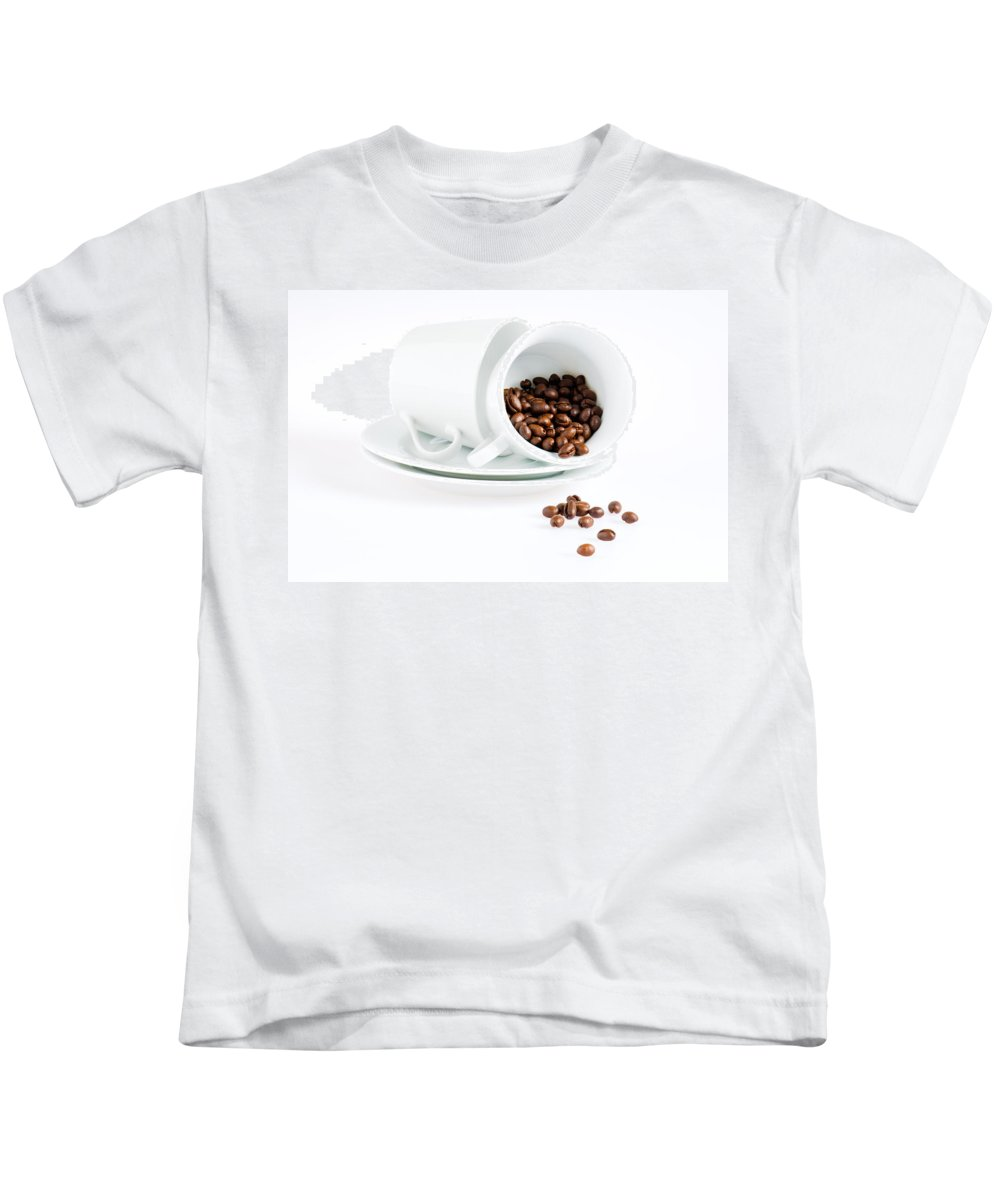 Background Kids T-Shirt featuring the photograph Coffee Cups And Coffee Beans by U Schade