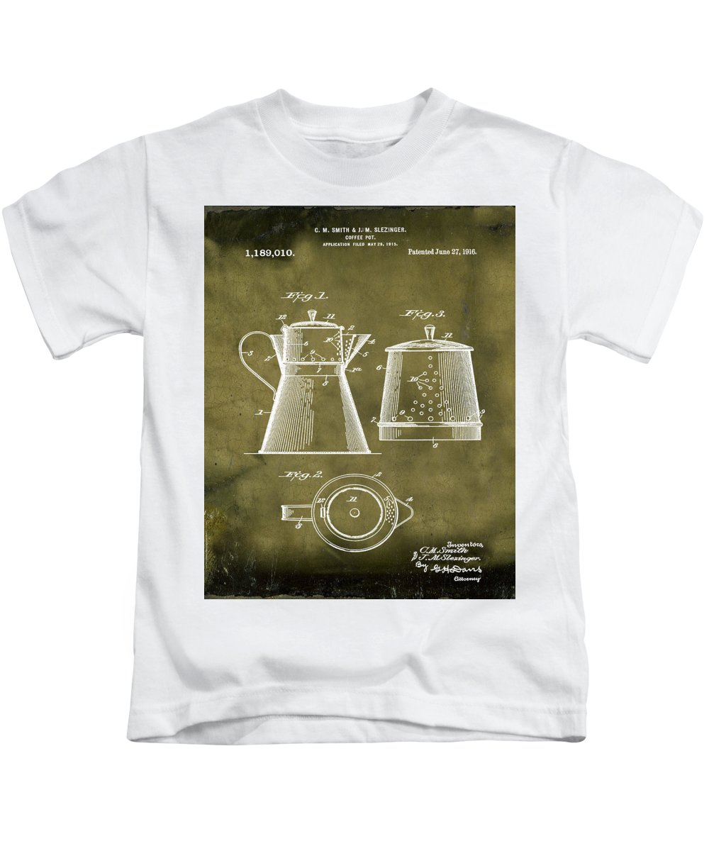 Coffee Kids T-Shirt featuring the photograph Coffee Pot Patent 1916 Grunge by Bill Cannon