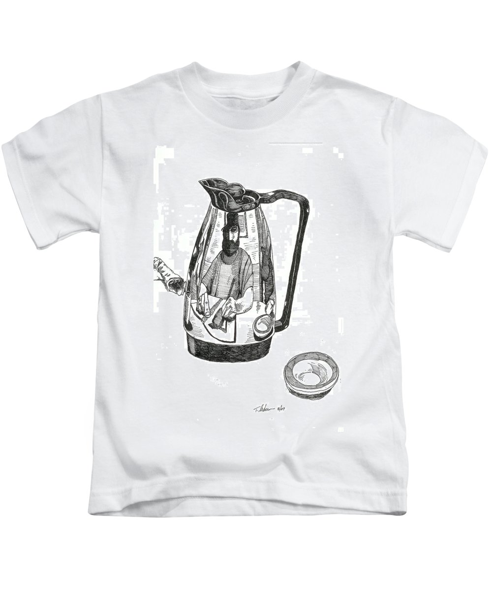 Pen And Ink Kids T-Shirt featuring the drawing Coffee Pot by Tobey Anderson
