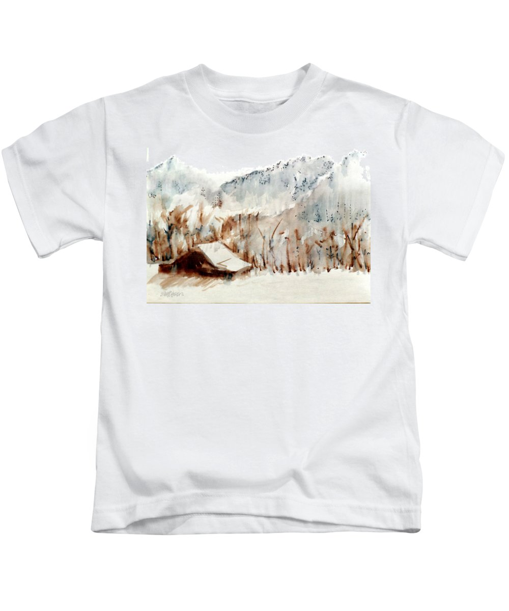 Cold Cove Kids T-Shirt featuring the mixed media Cold Cove by Seth Weaver