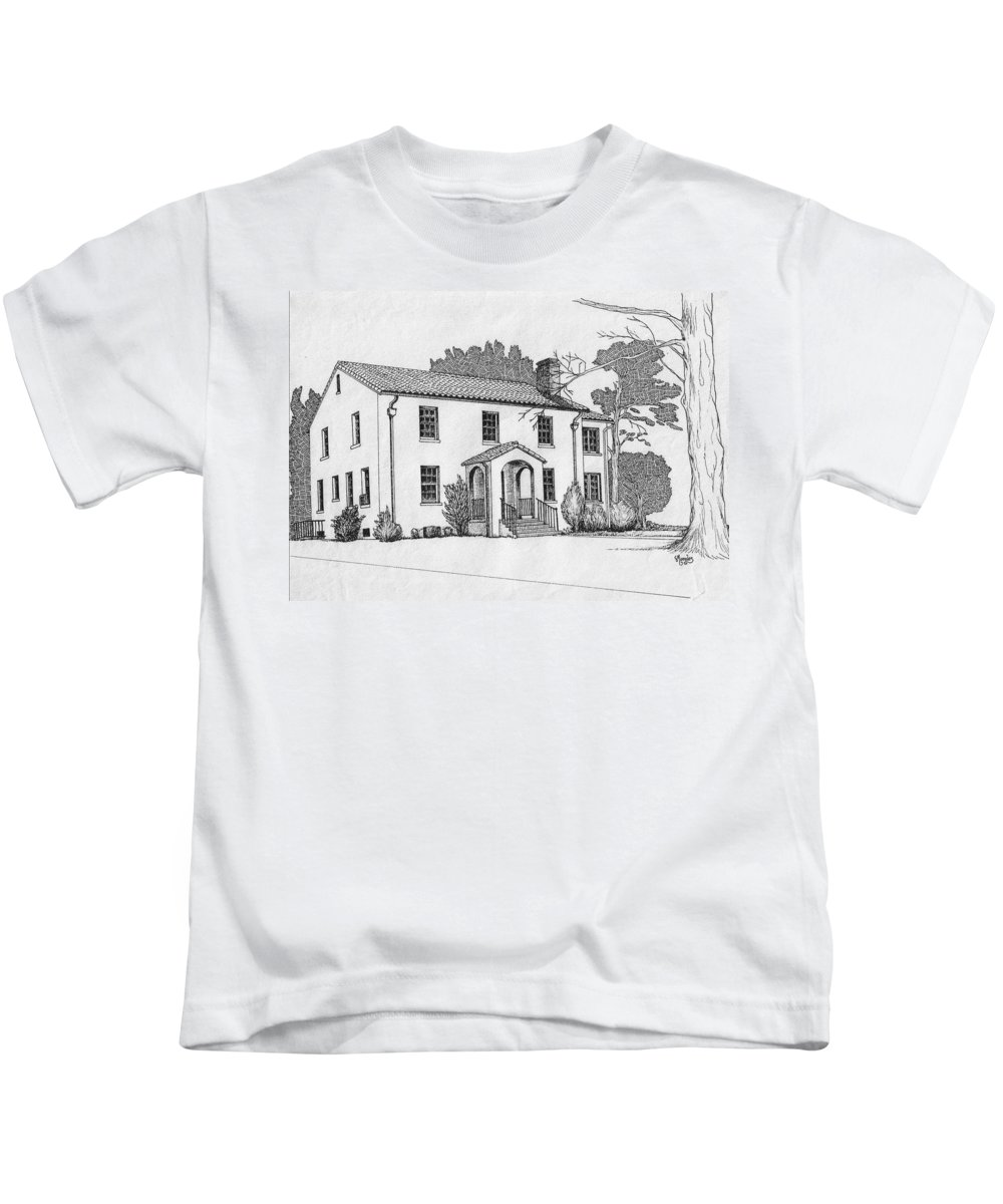 Drawing - Pen And Ink Kids T-Shirt featuring the drawing Colonel Quarters 2 - Fort Benning Ga by Marco Morales