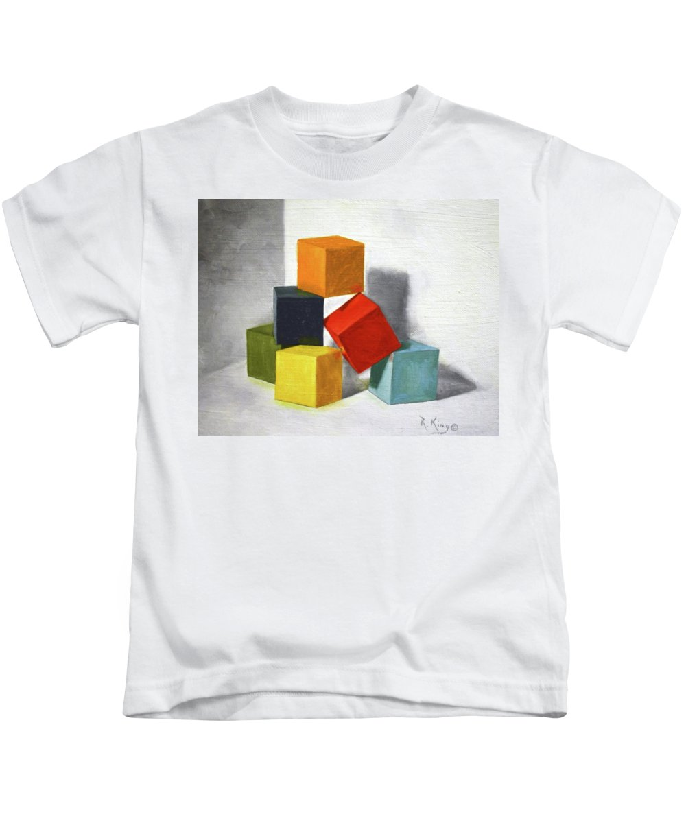 Roena King Kids T-Shirt featuring the painting Colorful Blocks by Roena King
