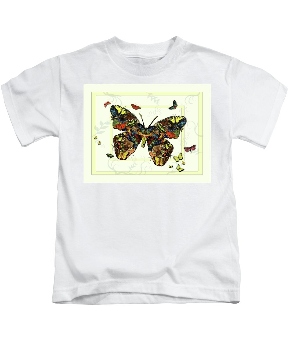 Botanical Kids T-Shirt featuring the painting Colorful Butterfly Collage by Deborah Smith