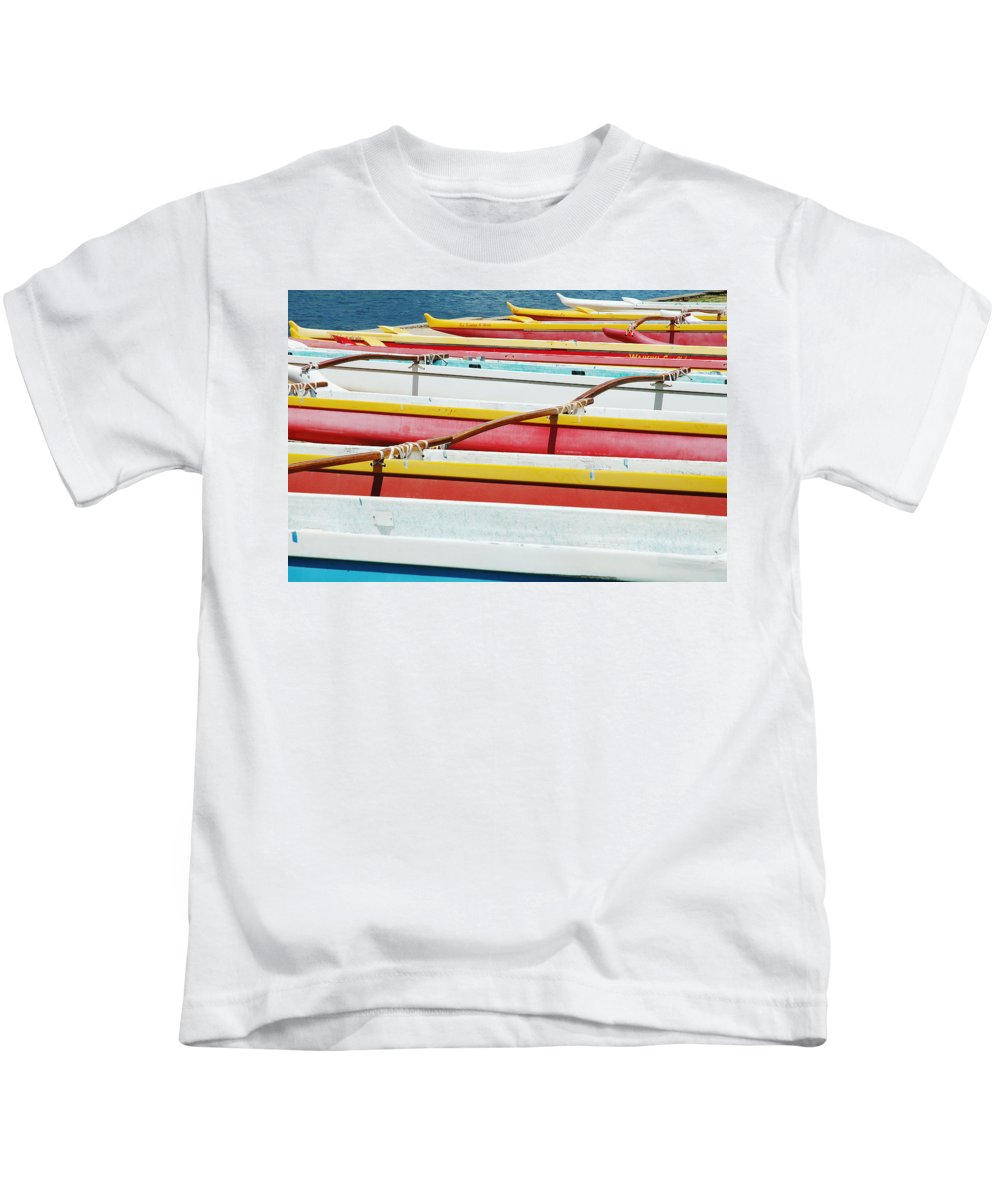 Afternoon Kids T-Shirt featuring the photograph Colorful Outrigger Canoes by Mary Van de Ven - Printscapes