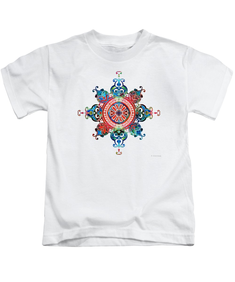 Mandala Kids T-Shirt featuring the painting Colorful Pattern Art - Color Fusion Design 3 By Sharon Cummings by Sharon Cummings