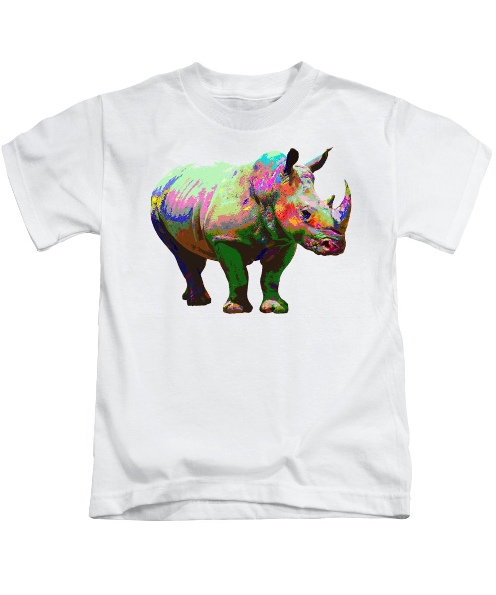 Rihno Kids T-Shirt featuring the painting Colorful Rihno by Samuel Majcen