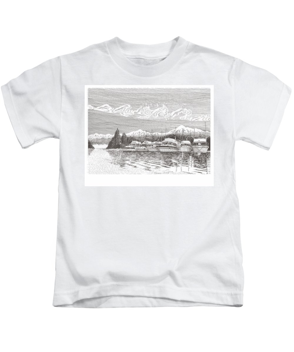 Marine Paintings Marine Art. Canvas Prints Of Boats. Prints Of Boats. Prints Of Waterfront Art. Canvas Prints Of Yachts. Framed Marine Transportation Art Kids T-Shirt featuring the drawing Columbia River Raft Up by Jack Pumphrey