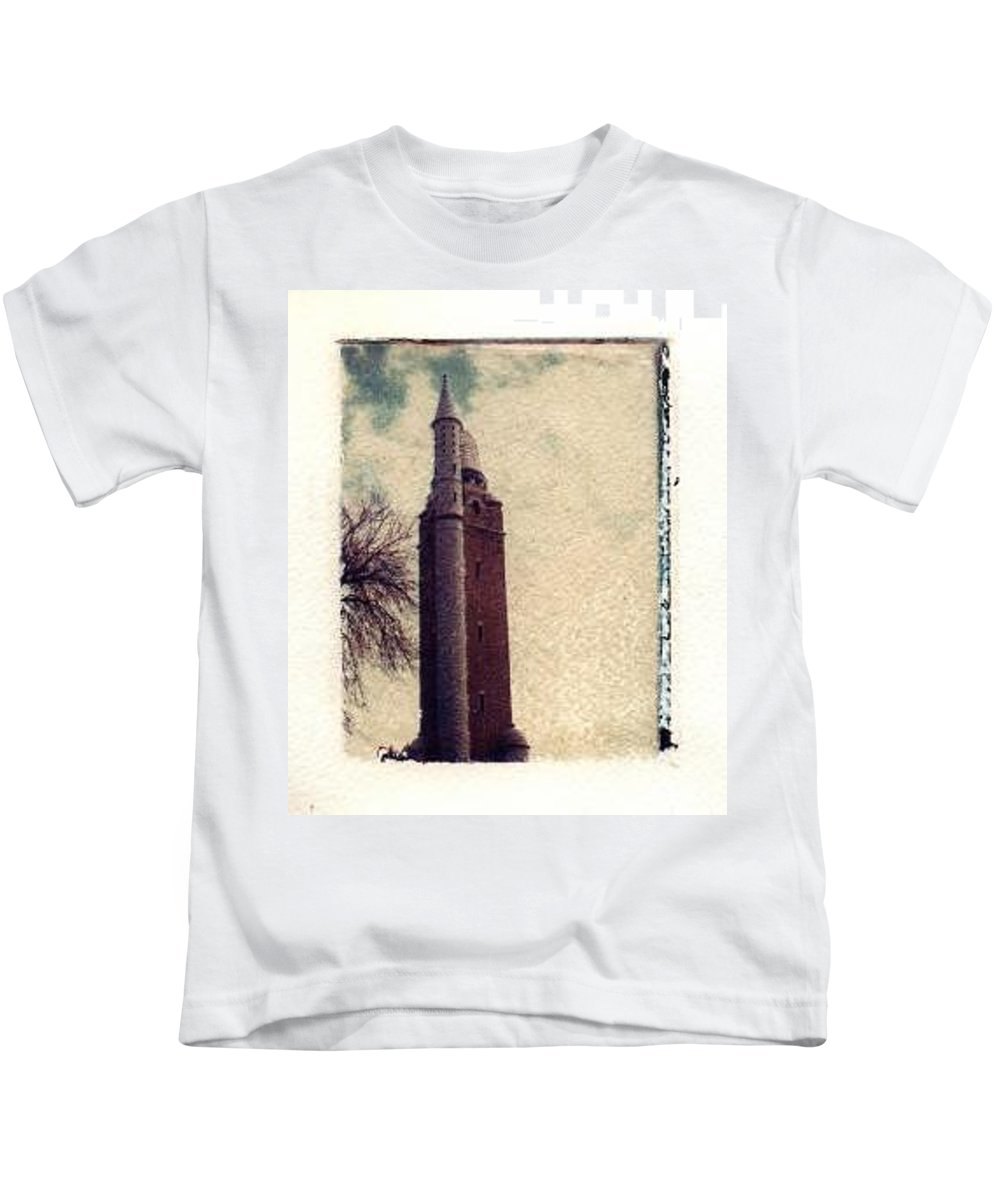 Polaroid Transfer Kids T-Shirt featuring the photograph Compton Water Tower by Jane Linders